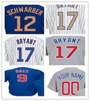 Wholesale Grey Baseball Jerseys - 2017 Men's Jersey 17 Kris Bryant 44 Anthony Rizzo 9 Javier Baez 12 Kyle Schwarber Champions Gold Baseball Jerseys