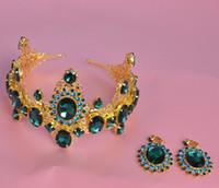 24k altın gelin setleri toptan satış-Düğün Gelin Tiaras Kraliçe Taçlar Küpe Seti Sparkle Pageant Rhinestones Takı Parlak Kafa Barok Altın 2018 Saç Aksesuarları Kadınlar
