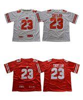 Wholesale American Football College Jerseys - Men's # 23 Jonathan Taylor jerseys 2018 New Wisconsin Badgers White Red college american Mens football jersey