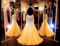 Wholesale Size 16 Pageant Dresses Glitz - Glitz Pageant Dresses with Crystals 2015 V Neck Open Back Sexy Gold Mermaid Plus Size Evening Dresses Backless Prom Dresses with Cap Sleeves