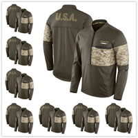 Wholesale Grey Zip Jacket - Men's Los Angeles Miami Minnesota New England Orleans York Olive Salute to Service Sideline Hybrid Half-Zip Pullover Jacket