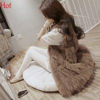 Wholesale Knitting Long Vests - Hot Plus Size Women Faux Fur Vests Special Slim long Waistcoat Coat Women Gilets Outwear Fox Fur Female Vest Jackets Brown Grey SV005513