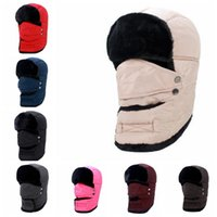 Wholesale Breathable Ski Masks - Unisex Warm Winter Ski Hat Breathable Windproof Mask Earflap winter snow women cap Face Mask men's cycling hat KKA3185