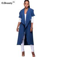 Wholesale trench coat feminino - 2017 New Womens Autumn Sexy Trench Coat Long Black Blue Office Casaco Party Night Club Coats Plus Size Sobretudo Feminino