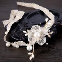 Wholesale Jewelry Bride Handmade - Bride Handmade Hairband Hair Jewelry Lace Flower Pearl Crystal Glass Beads Wedding Hair Accessories Bridal Headband Tiara