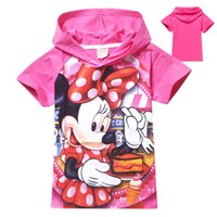 Wholesale Short Sleeve Hoodie Kids - Summer Minnine Hoodies Kids Clothes Short Sleeve 2 Color Clothing Kids Cartoon Pattern Top For 3~10 Y 6 P L