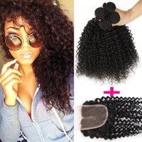 Wholesale 3pc hair weave resale online - Remy Brazilian Curly Virgin Human Hair Weaves With Top Closure pc Hair Weft pc Lace Closure x4 Lace Closure With Bundle Deep curly wave