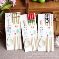 Wholesale Korean Chopstick Spoon Set - Cute healthy kids chopsticks 3 pack Japanese bamboo chopsticks spoon set wax-free baby cartoon chopsticks 2J40