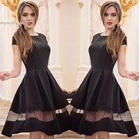 Wholesale black mesh briefs - 2016 fashion new arrival Elegant ladies black Dress Party Evening A-Line O-neck Short Sleeve Mesh Patchwork solid color Dress