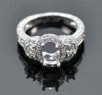 Wholesale Three Ring Gold Mounting - Free Shipping 6x8mm & 2x4mm Oval Cut Three Stone Diamond Ring Semi Mount Setting Wedding Ring(N008)