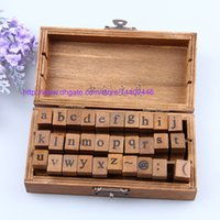 Wholesale Vintage Wood Letters - Free DHL Shipping 20sets 30pcs set DIY Lowercase Uppercase Alphabet Rubber Stamp Vintage Style Wood Stamps Letters Number Wooden Box Set