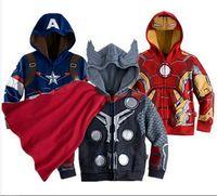 Wholesale Clothing Avengers - Avengers Iron Man Children Sweatshirt Jacket&Coat,Baby boy Thor Cosplay,Captain America jackets.Girls&Boys Long Sleeve hoodies kids clothing