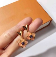 Wholesale Diamond Flower Earring - Top brass material paris design earring with nature jade flower decorate earring monogram for women and mother gift jewelry PS6615