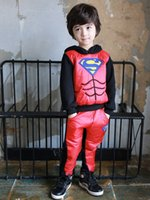 Wholesale Superman Outfit For Kids - 2015 Winter Clothing Sets For Boys Superman Cartoon Kids Sports Suit Long Sleeve Hooded Thicken Keep Warm Children Outfits Retail H971