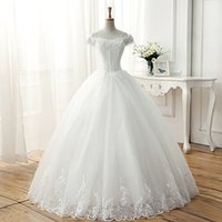 Wholesale Custom Marriage - Bateau Neck Soft Tulle Wedding Dress With Short Sleeves 2018 Ball Gown Bridal Dress For Marriage