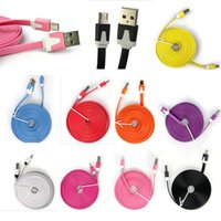 Wholesale I Phones 5s Cable - Hot 1M 2M 3M Micro V8 Noodle Flat Data USB Charging Cords Charger Cable Line for i 5 5C 5S 4 4s Samsung Android Phone MQ100