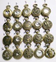Wholesale wholesale antique style watches for sale - 2015 Mix Steampunk Styles Men Antique Skeleton hollow Pocket Watch Chain Luxury Black Bronze Titanium Watches Christmas Gift
