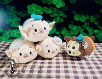 Juguete de peluche TSUM TSUMS tres cerditos Kawaii Dolls animado Screen Cleaner móvil Llavero suspensión del bolso para el teléfono móvil