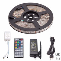 коммутаторы pir dc оптовых-5 м RGB Led Strip 5050 SMD водонепроницаемый 60LED/м DC12V LED Light + 24/44 ключи пульт дистанционного управления + 12 В 5A адаптер питания лучшее качество