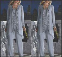 vêtements de plage officiels achat en gros de-2019 nouvelle mère de la mariée marié 3 pièce pantalon costume en mousseline de soie d'argent plage mariage mères robe manches longues perles formelle tenue de soirée 118