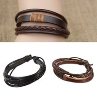 Wholesale Synthetic Leather For Bracelets - New Tribal Multilayer Bracelet Wrap Synthetic Leather Braided Rope Surf Bracelets Bangles Wristband For Men Black And Brown Sale