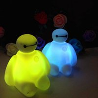 Wholesale Small Night Light Lamps - 2015 New Big Hero 6 Baymax LED Small Night Light Soft Plastic Flash Lamp Colorful Shining Light Kids Gifts Floodlight With Retail Box