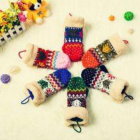 Wholesale Mitten Wear - 12pairs lot Woman's Santa Tree Snowflakes Style Gloves Wool Knitting Mittens Christmas Festival Hand Wear Supplies HX345