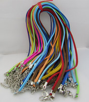 Wholesale Wholesale Leather Suede Necklace Cords - 50pcs lot Adjustable Assorted Color Suede Leather Necklace Cord With Lobster Clasp 3mm 18-20inch