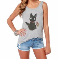 Wholesale Cotton Halter Tank Top - CDJLFH 2017 Women Cotton Gray Halter Tops Straps Sleeveless Cute Cat Theme Print Tank Tops Women Backless Camis Backless Costume