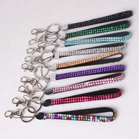 Wholesale Bling Wristlet - 100% High Quality Free Shipping Rhinestone Bling Crystal Key Chain Wristlet Lanyard Cell Phone Holder Wholesale