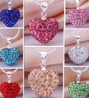Wholesale Bead Pendant Silver - Lowest Price!Heart Crystal Shamballa Necklace Silver plated Jewelry Rhinestone Disco Crystal Bead Necklace women jewelry Gift