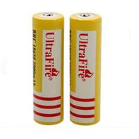 baterias de íon de lítio livres venda por atacado-Ultra Fogo 18650 3.7 V 5000 mAH Bateria De Lítio Recarregável Amarelo, UltraFire BRC 18650 Li-Ion baterias Frete Grátis