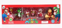 Wholesale Toad Doll - 6pcs set Super Mario Bros Peach Toad Mario Yoshi Donkey Kong PVC Action Figure Toys Dolls New in Box 4~6cm Retail