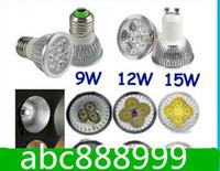 Wholesale Led Gu 15w - Shipping High Power Dimmable GU 10 MR16 E27 3W  9W  12W 15W LED Spotlight led lighting led bulbs led lamp NO radiation Christmas