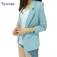 Wholesale Leisure Suits Candy - Candy Color Women Leisure Jacket Bolero Skinny Long Sleeved Feminino Blazers Tops Plus Size Office OL Lady Coat Suit Mujer Tops
