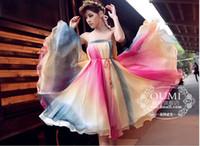 Wholesale Long Chiffon Expansion Skirt - 2015 summer female fashionable Bohemian chiffon Bust skirt elegant women uninhibited Colourful expansion long dress boho dresses sent belt
