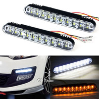 Wholesale Led Daylight Running - 2x 30 LED Car Daytime Running Light DRL Daylight Lamp with Turn Lights External Lights Salable LED Daytime Running