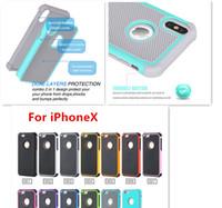 hibrid dayanıklı sert silikon kılıf toptan satış-IPhoneX Hibrid Shockproo Emici Kauçuk Silikon Plastik Çizilmeye Dayanıklı Tampon Kavrama Sağlam Sert Kılıflar iPhoneX 8 için kapak kılıfları