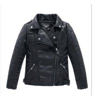 Wholesale Kids Leather Jackets Lining - Autumn&Winter Baby Kids Motorcycle Jackets Thicken PU Leather Boys Girls Fashion Outerwear Children Infant Coats FREE SHIPPING