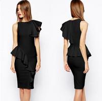 Wholesale Ruffle Summer Dress - vestidos femininos Black Ruffle Brief Party Midi Vintage pencil dress sexy woman summer dresses vestido estampado