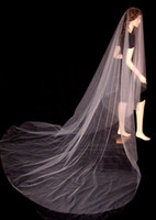 Wholesale Wedding Dress Veil Cathedral - simple design wedding dresses veils cut edge cathedral length without comb White  Ivory Tulle bridal veil