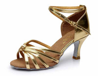 Wholesale Hot Latin Shoes - Hot sale Latin Dance Shoes Ballroom tango Shoes for women gold color 7CM