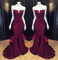 Wholesale Long Peplum Dress Cheap - Cheap Sexy 2017 Mermaid Prom Party Dresses Burgundy Grape Formal Pageant Evening Dress Long Satin Plus Size Gowns Backless Real Image BO8278