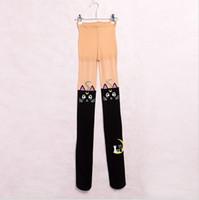 ingrosso calze di gatto nero-Sailor Moon Tights Anime 20th Anniversary Cosplay Bianco / Nero Cat Luna Calze calze autoreggenti per le donne