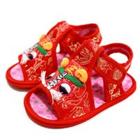 Wholesale Chinese Summer Sandals - Children and baby chinese-style manual cotton strong cloth soles tiger head shoes Sandals for girl boy summer red 15009