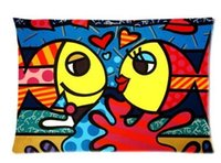 Wholesale Romero Case - 20X30 inch Decor Cushions case Brand 2015 Home Decorative Romero Britto Loved Fishes Kiss Cushion Throw Pillows Cover