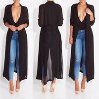 Wholesale Long Duster - Wholesale- 2016 new fashion full sleeve trench coat balck chiffon duster for women woman overcoat outwear causal robe long dress sexy