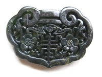 Wholesale Good Black Jade - Chinese Xinjiang black and green jade hand-carved flower and bat lock bring blessing and good luck