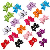 Wholesale Wholesale Handmade Dog Collars - 50pcs Handmade Rhinestone Dot Print Cute Pet Cat Dog Hair Bows Grooming Accessories Mixed Colorful Bows