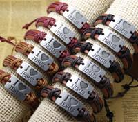 jesus deri bileziklerine bayılırım toptan satış-Çapraz bilezikler toptan YENI Takı seviyorum İsa moda Deri Charm Bilezik Lover Hediye Hıristiyan mens / kadın bilezikler